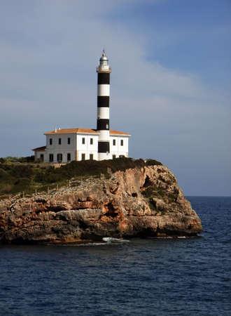 colom: Porto Colom Lighthouse in Majorca (Balearic Islands - Spain)                                                                     Stock Photo