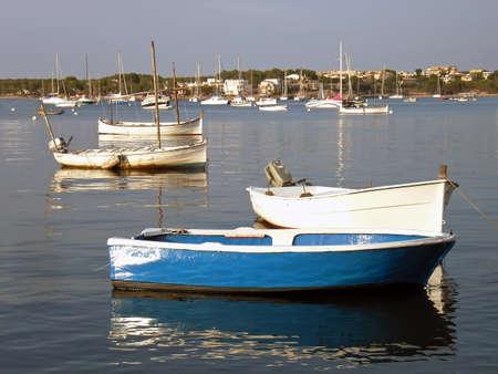 colom: Fishing boats in Porto Colom (Majorca - Spain) Stock Photo