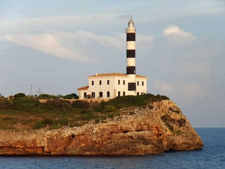 colom: Lighthouse in Porto Colom (Majorca - Spain)                                                                Stock Photo