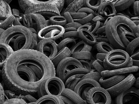 B&W Old Tires in a Landfill photo