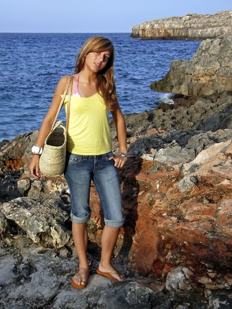 Young girl on a beach excursion in Majorca                                                                photo