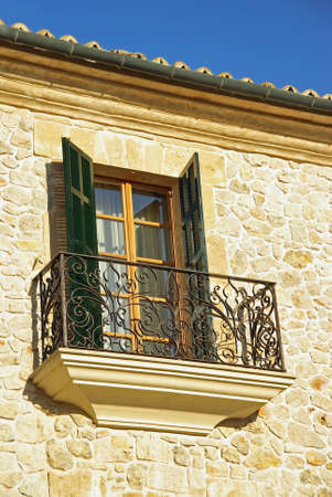 Typical Mediterranean window in a rustic house in Majorca (Balearic Islands - Spain) photo