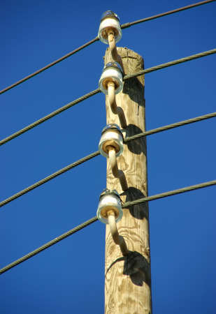 Details of a wooden electricity pole in Spain photo