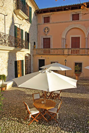 typical courtyard of a luxury restaurant in Majorca (Balearic Islands - Spain)