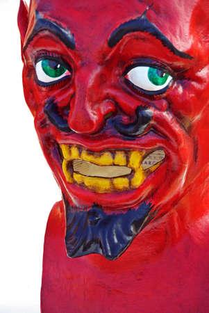 demoniacal: Red demon mask used in popular celebrations in Majorca (Spain)