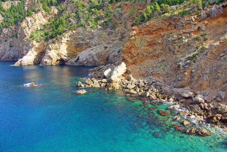 Coast with blue turquoise waters at the northern of Majorca (Spain) photo