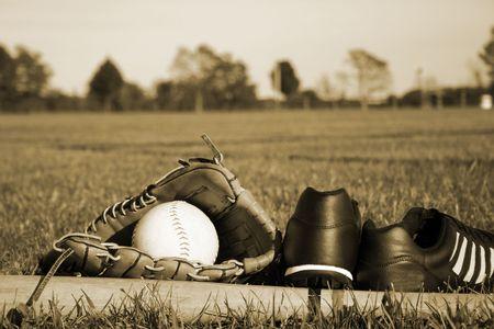 softbol: Equipo de b�isbol Foto de archivo