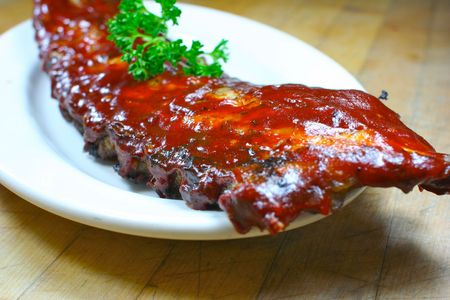 smothered: Full Slab of BBQ Ribs Stock Photo