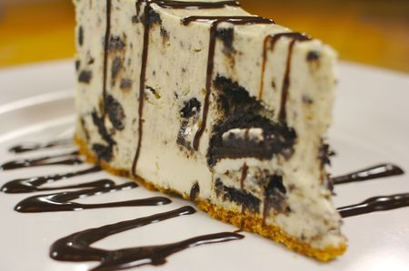 cheesecake: A delicious slice of chocolate cookie cheesecake