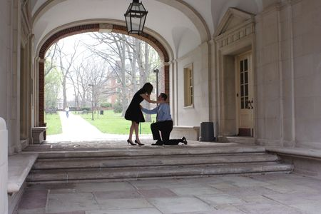 A surprise marriage proposal on a college campus