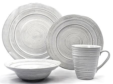 Antique white ceramic dinner set. dishware set on white background Reklamní fotografie