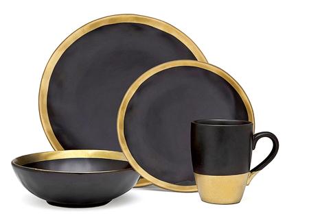Golden dishware set, golden black cookware set on white background