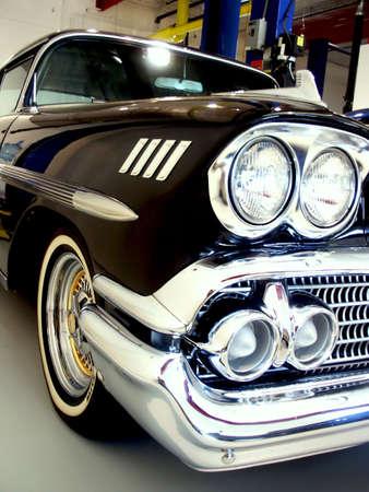 rockabilly: Classic Black 50s American Car