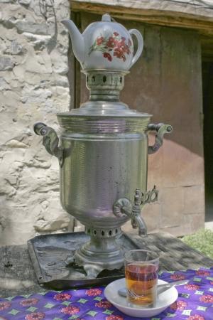 Samovar for preparing tea  chai  in a small village in the Caucasus region of Azerbaijan  Stock Photo
