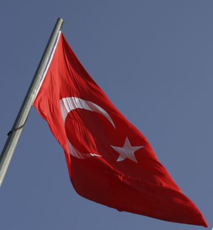 Turkish flag flying at the Chamica Overlook in the Asian section of Istanbul  Stock Photo