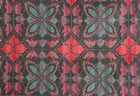 Floral fabric pattern forms an abstract background
