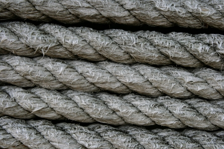 Rows of rope create an abstract, rough pattern