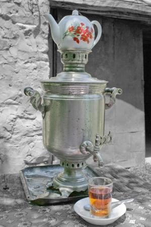 Samovar for preparing tea  chai  in a small village in Azerbaijan Stock Photo