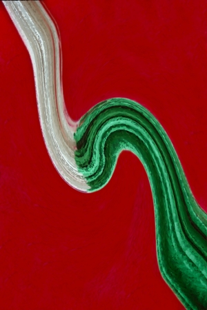 A swirl of color, a hammock and a red pillar present the colors of the Mexican flag