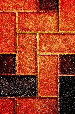 Flooring bricks form a pattern on a patio  Stock Photo