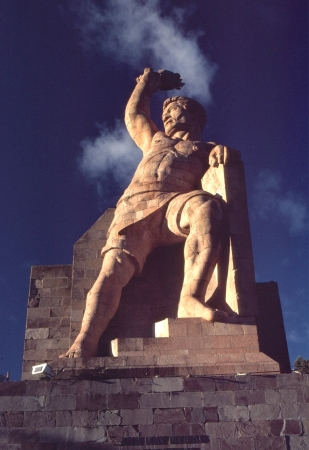 The Pipila statue in Guanajuato, Mexico, greets the morning sun