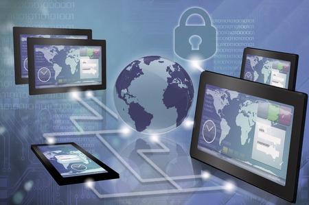 Computer gegenereerde afbeelding van verschillende apparaten te ontwikkelen hetzelfde project Stockfoto