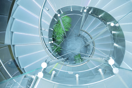 architectural interior: Modern Glass Staircase. Abstract architectural interior.