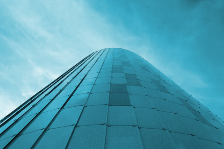 personal point of view: Low view image. Modern glass building skyscrapers. Copy space for Publishers text. Stock Photo