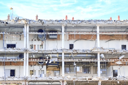 damaged: Damaged building ruins.