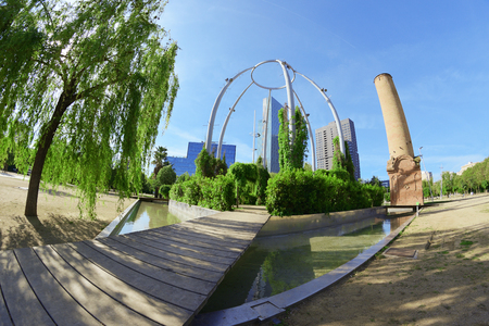 Parc del Center in the commercial district of Poblenou, Barcelona, ??Spain. Green garden and water channel.