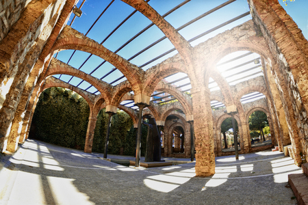 Remains and ruins of Roman thermal baths in Barcelona, ??Spain.