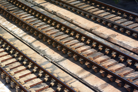 Three iron rail ways. Trade and carriage of goods concept.