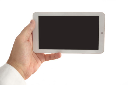 Business man holding and using a white tablet. Empty copy space for Publisher's text. Banque d'images