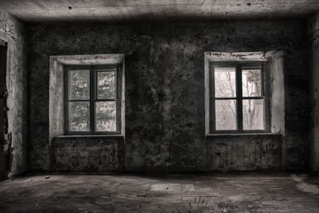 Two symmetrical windows in a scary and terrible room in an old abandoned building. Dirty and rusty walls and windows. The trees are behind them. Light and shadow. Cracked on the walls and ceiling.