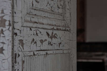 A shabby wooden door in an old abandoned house. Remnants of luxury. Cracks on the door.