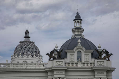 A beautiful stone dome on the roof of the palace. Ancient monumental architecture.