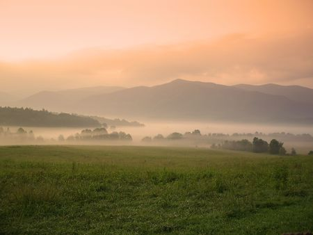 Foggy sunrise over Cades Cove, Great Smoky Mountains National Park photo