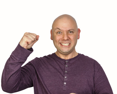 facial expression: Yes! I won! facial expression Stock Photo