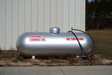 Propane Tank with Flammable gas and no smoking sign