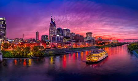 Scenery of Nashville Skyline with boat