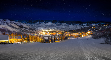 Snowmass, CO ski resort after sunset