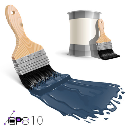 Blue Brush with Jar of Paint Vector