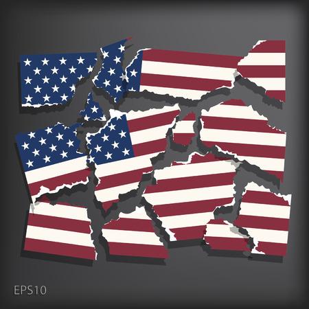 smashed paper: America Illustration