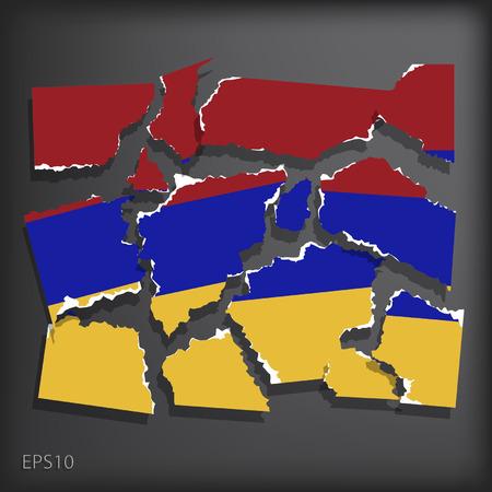 smashed paper: Armenia Illustration