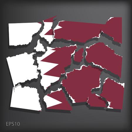 smashed paper: Bahrain Illustration