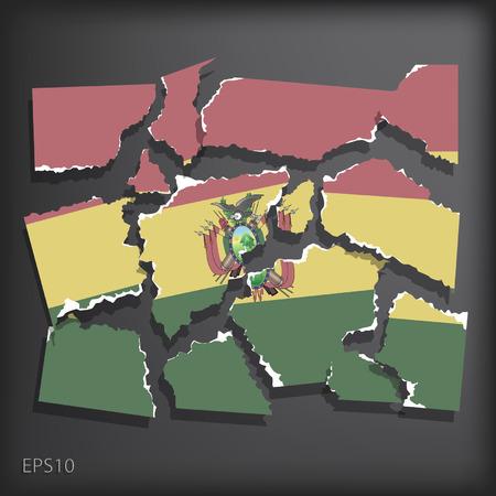 smashed paper: Bolivia Illustration