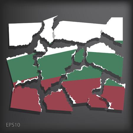 smashed paper: Bulgaria Illustration
