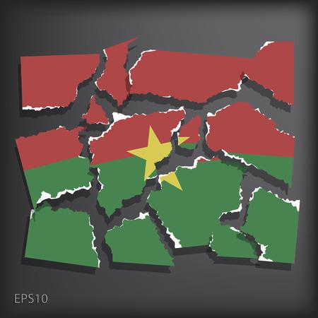 smashed paper: Burkina Faso Illustration