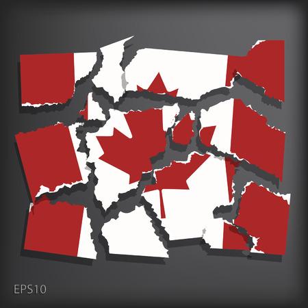 smashed paper: Canada Illustration