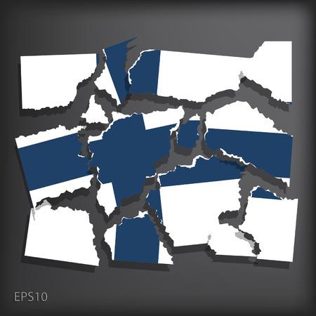smashed paper: Finland Illustration